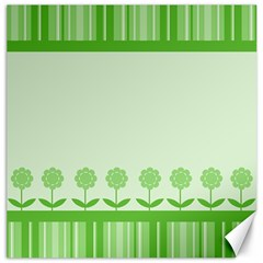 Floral Stripes Card In Green Canvas 20  X 20