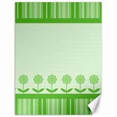 Floral Stripes Card In Green Canvas 18  x 24