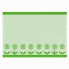 Floral Stripes Card In Green Large Glasses Cloth