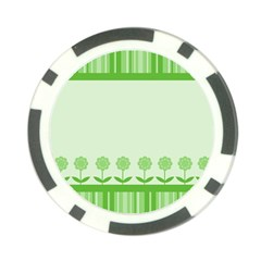 Floral Stripes Card In Green Poker Chip Card Guard (10 Pack)