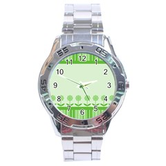 Floral Stripes Card In Green Stainless Steel Analogue Watch