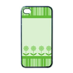 Floral Stripes Card In Green Apple Iphone 4 Case (black)