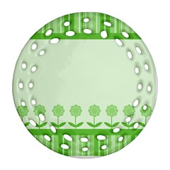 Floral Stripes Card In Green Ornament (round Filigree)