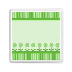 Floral Stripes Card In Green Memory Card Reader (square)