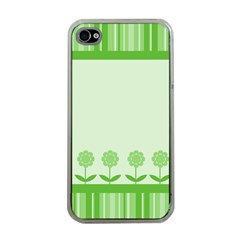 Floral Stripes Card In Green Apple iPhone 4 Case (Clear)