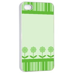 Floral Stripes Card In Green Apple iPhone 4/4s Seamless Case (White)