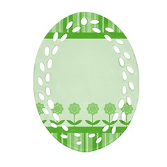 Floral Stripes Card In Green Ornament (Oval Filigree)