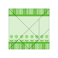 Floral Stripes Card In Green Acrylic Tangram Puzzle (4  x 4 )