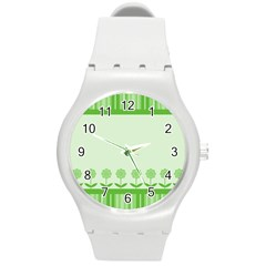 Floral Stripes Card In Green Round Plastic Sport Watch (M)