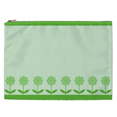 Floral Stripes Card In Green Cosmetic Bag (XXL)