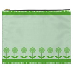Floral Stripes Card In Green Cosmetic Bag (XXXL)