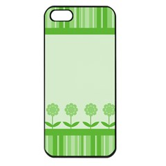 Floral Stripes Card In Green Apple iPhone 5 Seamless Case (Black)