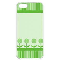 Floral Stripes Card In Green Apple iPhone 5 Seamless Case (White)