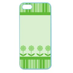 Floral Stripes Card In Green Apple Seamless iPhone 5 Case (Color)