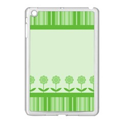Floral Stripes Card In Green Apple iPad Mini Case (White)