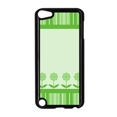 Floral Stripes Card In Green Apple iPod Touch 5 Case (Black)