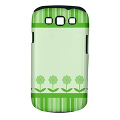 Floral Stripes Card In Green Samsung Galaxy S III Classic Hardshell Case (PC+Silicone)