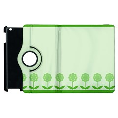 Floral Stripes Card In Green Apple iPad 2 Flip 360 Case