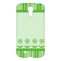 Floral Stripes Card In Green Samsung Galaxy S4 I9500/I9505 Hardshell Case