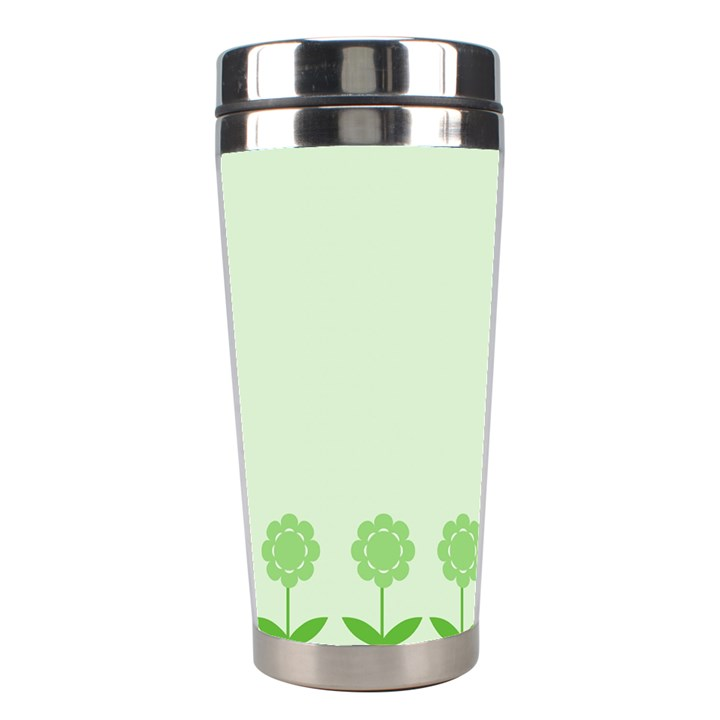 Floral Stripes Card In Green Stainless Steel Travel Tumblers