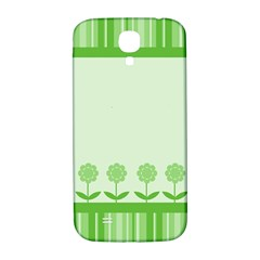 Floral Stripes Card In Green Samsung Galaxy S4 I9500/I9505  Hardshell Back Case