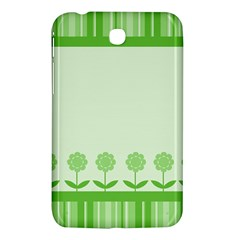 Floral Stripes Card In Green Samsung Galaxy Tab 3 (7 ) P3200 Hardshell Case