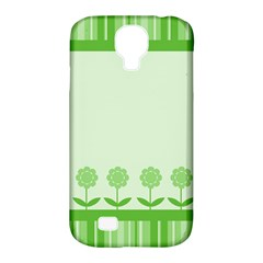 Floral Stripes Card In Green Samsung Galaxy S4 Classic Hardshell Case (pc+silicone)