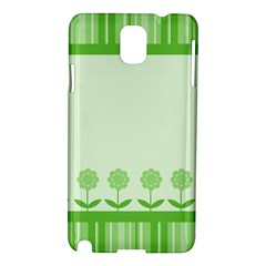 Floral Stripes Card In Green Samsung Galaxy Note 3 N9005 Hardshell Case