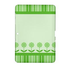 Floral Stripes Card In Green Samsung Galaxy Tab 2 (10.1 ) P5100 Hardshell Case