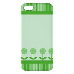 Floral Stripes Card In Green iPhone 5S/ SE Premium Hardshell Case