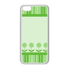 Floral Stripes Card In Green Apple Iphone 5c Seamless Case (white)