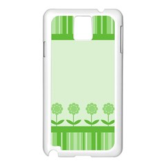 Floral Stripes Card In Green Samsung Galaxy Note 3 N9005 Case (White)