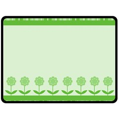 Floral Stripes Card In Green Double Sided Fleece Blanket (Large)