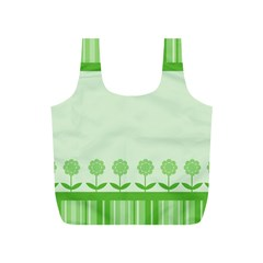 Floral Stripes Card In Green Full Print Recycle Bags (s)