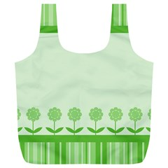 Floral Stripes Card In Green Full Print Recycle Bags (L)