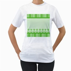 Floral Stripes Card In Green Women s T Shirt (white)