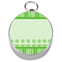 Floral Stripes Card In Green Silver Compasses