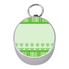 Floral Stripes Card In Green Mini Silver Compasses