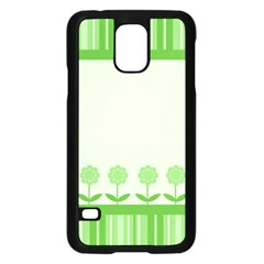 Floral Stripes Card In Green Samsung Galaxy S5 Case (Black)