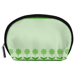 Floral Stripes Card In Green Accessory Pouches (Large)