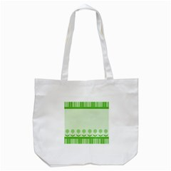 Floral Stripes Card In Green Tote Bag (White)