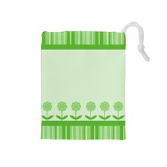 Floral Stripes Card In Green Drawstring Pouches (Medium)