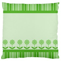 Floral Stripes Card In Green Large Flano Cushion Case (Two Sides)