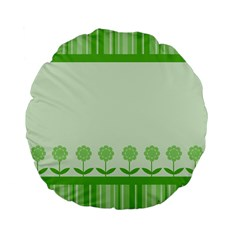 Floral Stripes Card In Green Standard 15  Premium Flano Round Cushions