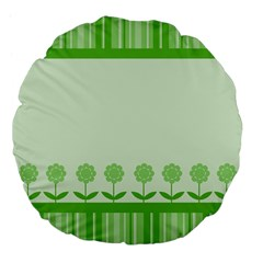Floral Stripes Card In Green Large 18  Premium Flano Round Cushions