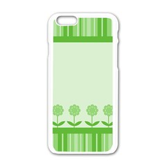 Floral Stripes Card In Green Apple iPhone 6/6S White Enamel Case