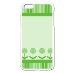 Floral Stripes Card In Green Apple iPhone 6 Plus/6S Plus Enamel White Case
