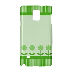 Floral Stripes Card In Green Samsung Galaxy Note 4 Hardshell Case