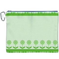 Floral Stripes Card In Green Canvas Cosmetic Bag (XXXL)
