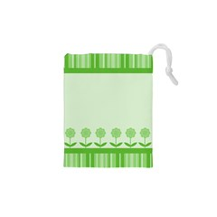 Floral Stripes Card In Green Drawstring Pouches (xs)